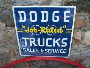 DODGE JOB RATED TRUCKS SALES SERVICE METAL TIN SIGN