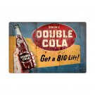 DRINK DOUBLE COLA BIG LIFT LARGE METAL SIGN