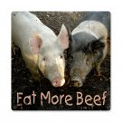 EAT MORE BEEF LARGE METAL SIGN