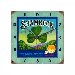SHAMROCK METAL CLOCK CLEAR COLORFUL S