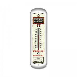 WHITE ROSE GASOLINE LARGE METAL THERMOMETER