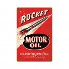 ROCKET MOTOR OIL retro red AUTOMOBILE CAR metal sign