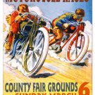 MOTORCYCLE RACES MEDIUM METAL SIGN
