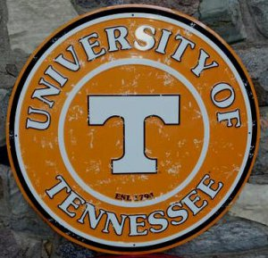 "UNIVERSITY OF TENNESSEE LARGE 24"" ROUND METAL SIGN"
