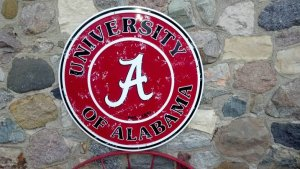 University Alabama College Sign Crimson Roll Tide Football Round Metal 24""