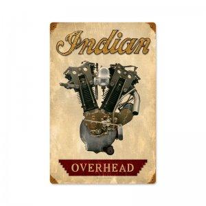 INDIAN OVERHEAD MOTORCYCLE ENGINE HEAVY METAL SIGN