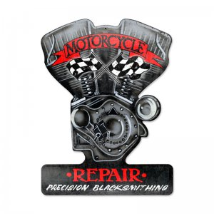 MOTORCYCLE REPAIR PRECISION BLACKSMITHING CUSTOM METAL SHAPE SIGN
