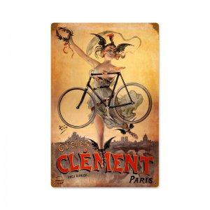 CLEMENT BICYCLES VINTAGE LOOK ROUND METAL SIGN