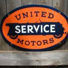 UNITED MOTORS SERVICE PORCELAIN COATED OVAL SIGN