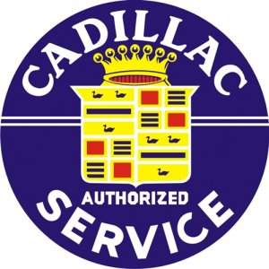 CADILLAC SERVICE SIGN HEAVY METAL SIGNS 25.5