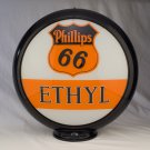 PHILLIPS 66 ETHYL GAS PUMP GLOBE GLASS LENSES oil filling station DECOR