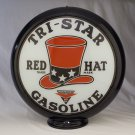 TRI-STAR RED HAT GASOLINE GAS PUMP GLOBE GLASS LENSES oil filling station DECOR