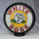 WHITE ROSE GAS PUMP GLOBE GLASS LENSES oil filling station DECOR