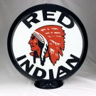 RED INDIAN GASOLINE GAS PUMP GLOBE GLASS LENSES oil filling station DECOR