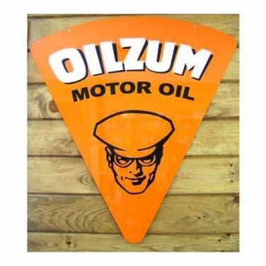 LARGE OILZUM STEEL 18 GAUGE SIGN 32 X 30