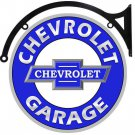 "CHEVROLET GARAGE BOWTIE DOUBLE SIDED 22"" DISK SIGN BRACKET"