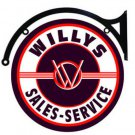 "WILLYS SALES SERVICE DOUBLE SIDED 22"" DISK SIGN BRACKET BROWN"