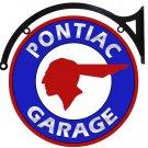 "PONTIAC GARAGE DOUBLE SIDED 22"" DISK SIGN BRACKET BROWN"