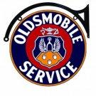"OLDSMOBILE SERVICE DOUBLE SIDED 22"" DISK SIGN BRACKET"