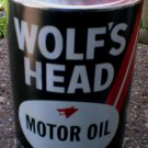 WOLF'S HEAD BLACK MOTOR OIL CAN PAPER LABEL NEW EMPTY