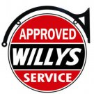 "Willys Approved Service DOUBLE SIDED 22"" Disk SIGN BRACKET"