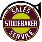 "Vintage Studebaker Heavy Steel Baked Enamel 18"" Double Sided Bracket Sign"