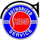 Studebaker Authorized Service Sign Double Sided Baked Enamel Bracket 18""