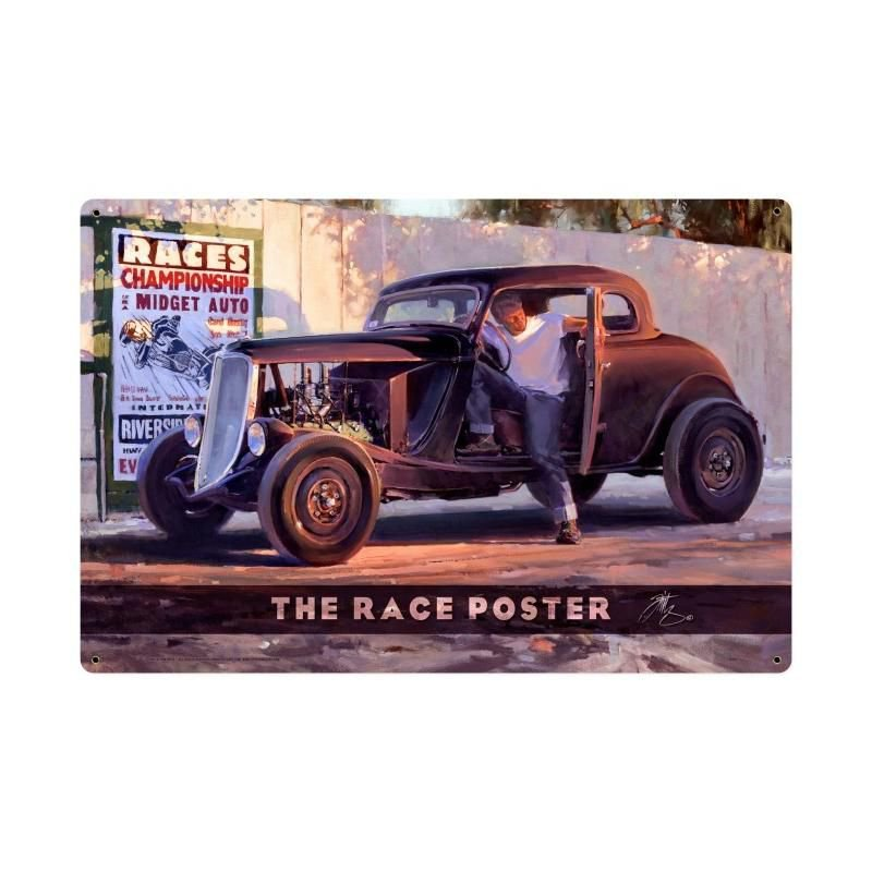 Race Poster Racing Sign Large Metal Championship Midget Auto Riverside California 24x36