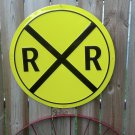 Railroad Steam Engine Sign Round Metal Home Farm Garage Train Room Decor 24""