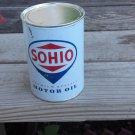 Sohio Motor Oil Can Metal New Empty 32 Fluid Oz. Home Garage Shop Man Cave Decor