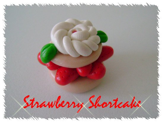 Polymer clay Strawberry Shortcake Single Bead