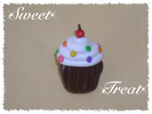 Polymer clay cupcake Cherry on Top Pin
