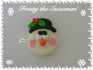 Polymer Clay Christmas Frosty the Snowman Bead