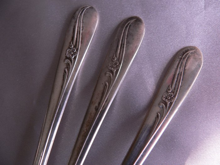 MEADOW FLOWERS H & T International Silverplate ICE ICED TEASPOONs Set of 3-- Crafts?