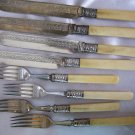 British Antique Silverplate LUNCH KNIVES & FORKS w/ BONE / IVORY HANDLES by Hawksley?