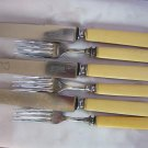 Set of Antique FRENCH IVORY & Silver plate DINNER KNIVES & FORKS -- CELLULOID  HANDLES