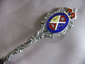 MONTREAL CONCORDIA SALUS Enamel Crown Embossed Skyline 1902 Sterling Souvenir spoon CANADA