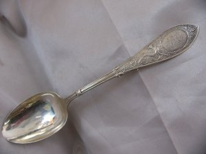 ARABESQUE Sterling STANDARD SERVING SPOON by WHITING 1875 B C mono Aesthetic Dragon