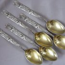 SALE * TIFFANY VINE pattern IRIS Sterling COFFEE SPOONS with GOLD WASHED BOWLS 1872