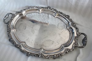SALE! CHELTENHAM & Co Large ENGLISH Silver Plated SERVING TRAY