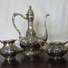 $500 OFF *** RARE UNGER BROS. Sterling FRENCH DEMITASSE TEA COFFEE Set ART NOUVEAU B mono