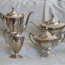 "SALE * International ""1810 - ENGRAVED"" 4 pc Sterling TEA & COFFEE Set Sugar Creamer ART DECO"