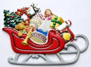 Sleigh Christmas Ornament, Custom Hand-Painted Gifts, Decor