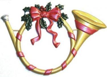 Holiday Horn   Refrigerator Magnet   Custom Handpainted Magnet   Seasonal Magnets