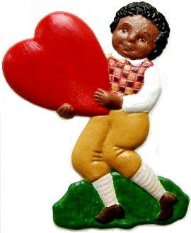 Boy with Heart Dark | Refrigerator Magnet | Custom Handpainted Magnet | Seasonal Magnets