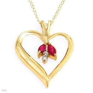 Diamond & Ruby Heart Pendant 10K Yellow Gold