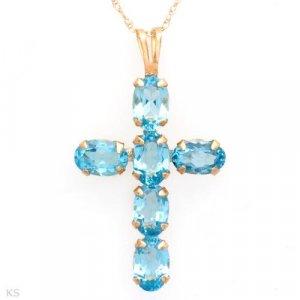 Topaz Cross Pendant Necklace 10K Yellow Gold