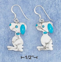 Sterling Silver Blue & White Stone Beagle Dog w/French Wire Earrings
