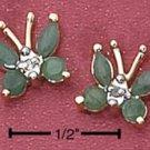Sterling Silver Vermeil Butterfly Post Earrings w/Genuine Emeralds