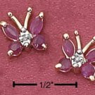 Sterling Silver Vermeil Butterfly Post Earrings w/Genuine Rubies
